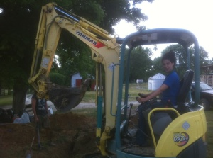 Oh, and I learned how to operate this thing (a mini excavator).