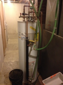 Hot water tank in the basement. The black vertical tube is the heat exchanger. We hooked up its electric heater too as a backup but we've never had to use it.