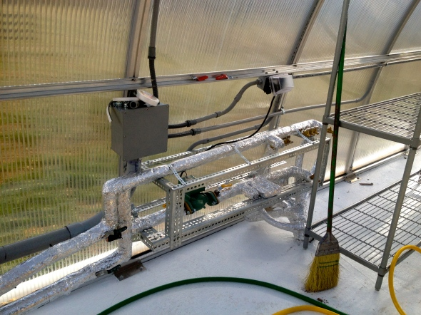 manifold for greenhouse which controls the radiant heat in the floor.