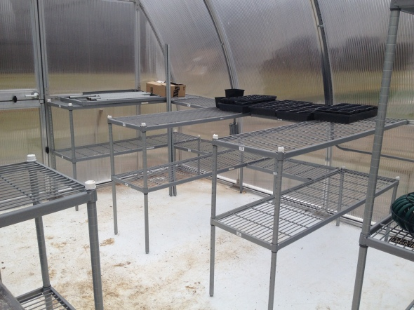 Building greenhouse benches from wire shelving