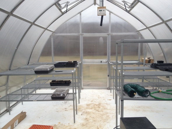 inside of the greenhouse nearing completion of construction.