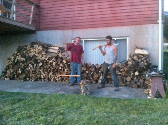Splitting wood by hand is hard work but it makes you ripped like Batman