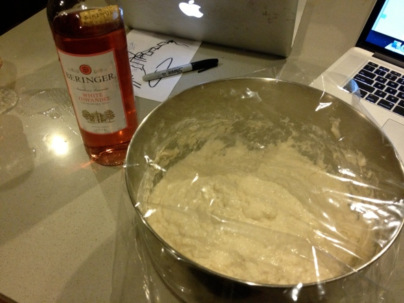 making homemade bagels from scratch. First mix together the sponge and let it rise
