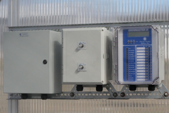 growmaster computer and relay cabinets in greenhouse