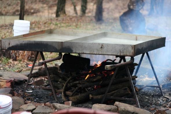 Here's our kickass sap boiling setup. Thanks again, Kurt!
