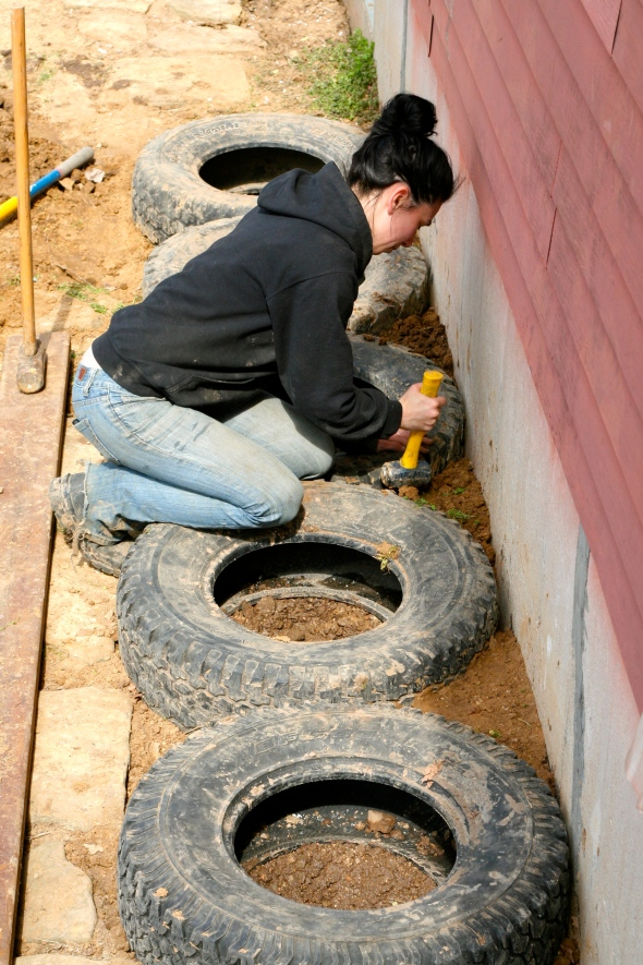 Step Seven: Fill in all the gaps with dirt and really pound it in. I mean really pound it in. Those tires aren't going anywhere.