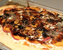 Homemade peach balsamic pizza