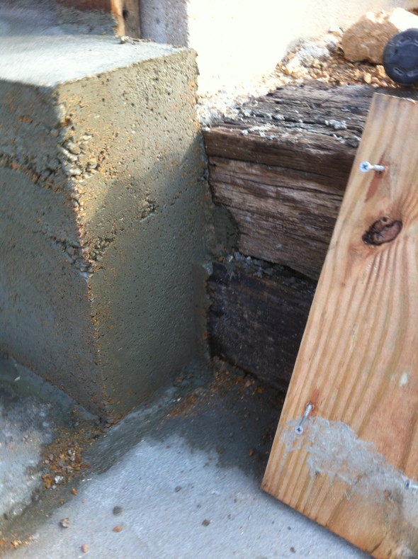 The side wall also helped key in our railroad tie retaining wall. Bonus!