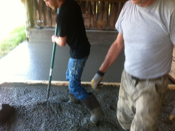 Denny, Aaron, Nemo,and Dave pouring the floor.