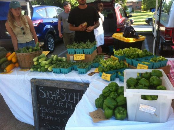 selling produce at farmers market